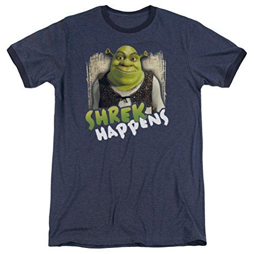 (A&E Designs Shrek Happens Ringer Shirt, Navy Blue, Small)