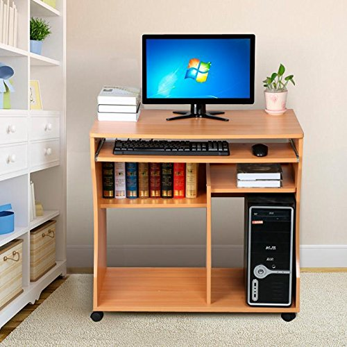 Yaheetech Movable Computer Writing Desk with Sliding Keyboard, Storage Shelves,Wheels for Small Spaces, Beech Wood