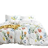 Wake In Cloud - Floral Duvet Cover Set, 100% Cotton Bedding, Colorful Watercolor Flowers Leaves Painting Printed on White, Zipper Closure (3pcs, Twin Size)