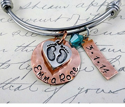 Baby and New Mom Push Present Bangle Bracelet Personalized Hand Stamped Newborn Gift