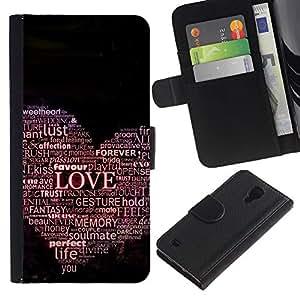 """JackGot ( El amor de la tipografía Hear"""" ) Samsung Galaxy S4 IV I9500 la tarjeta de Crédito Slots PU Funda de cuero Monedero caso cubierta de piel"""
