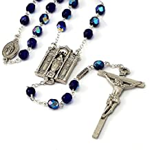 Shrine of the Miraculous Medal Philadelphia Rosary in Faceted Blue Beads and antique silver finish made in Italy exclusively by Ghirelli - 11506A