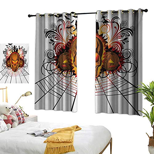 LsWOW Bedroom Curtains W55 x L72 Halloween,Angry Skull Face on Bonfire Spirits of Other World Concept Bats Spider Web Design,Multicolor Blackout Curtains Window -