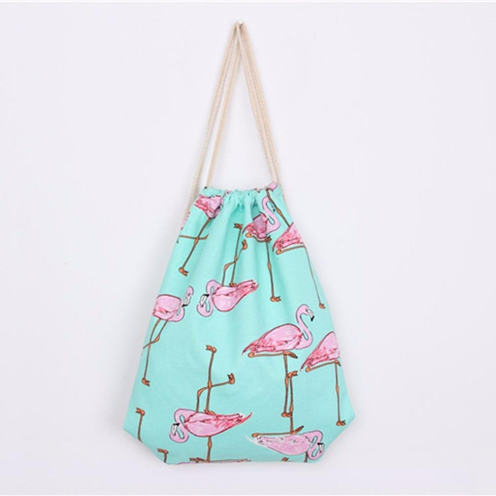 2018 Flamingos Drawstring Beam Port Backpack Shopping Bag Travel Bag for Women by TOPUNDER by Bags for women Topunder (Image #3)