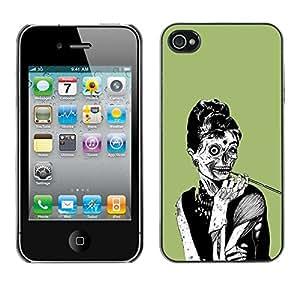 TECHCASE**Cubierta de la caja de protección la piel dura para el ** Apple iPhone 4 / 4S ** Zombie Woman Chic Skull Art Drawing Smoke
