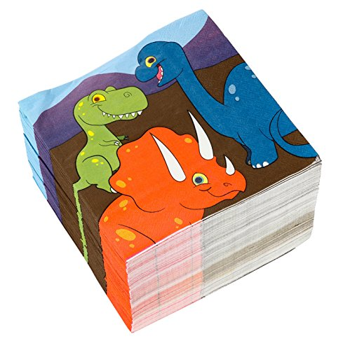 Cocktail Napkins - 150-Pack Luncheon Napkins, Disposable Paper Napkins Kids Birthday Party Supplies, 3-Ply, Dinosaur Design, Unfolded 13 x 13 Inches, Folded 6.5 x 6.5 Inches by Blue Panda