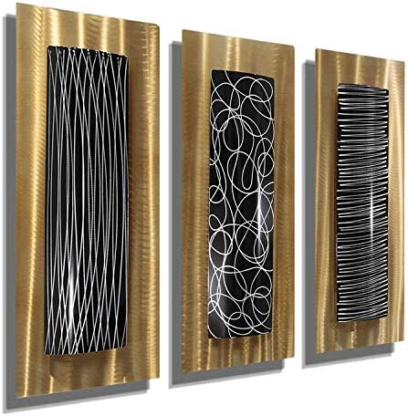 Statements2000 Abstract Gold and Black Multi-Piece Hand-Painted Metal Wall Accent