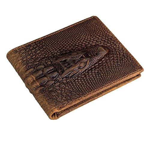 Eonice Men's Wallet Croco Embossed Genuine Leather Wallet Card Case