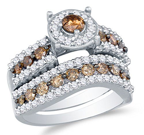 Size 6 - 10K White Gold Chocolate Brown & White Round Diamond Halo Circle Bridal Engagement Ring & Matching Wedding Band Two Piece Set - Prong Set Solitaire Center Setting Shape with Channel Set Side Stones - Curved Notched Band (1.70 cttw.)