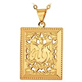 U7 Allah Necklace Square Shaped Hollow Design Muslim Jewelry with Chain 22'' (Gold)