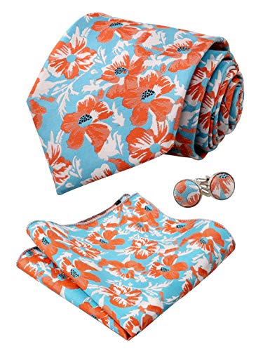 - Alizeal Mens Floral Pattern Tie, Hanky and Cufflinks Set, Turquoise+Orange