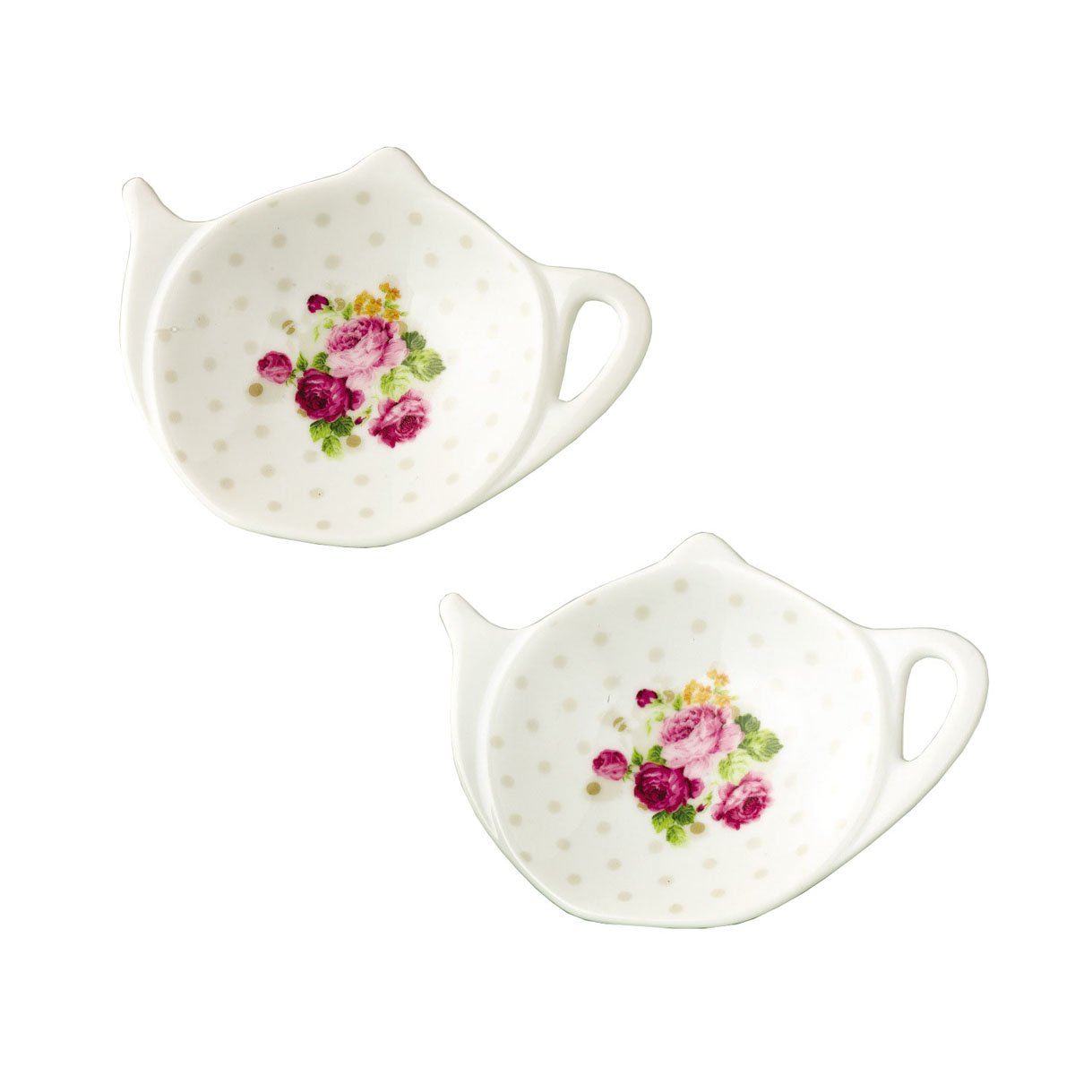 RockTrend Vintage Rose White Porcelain Ceramic Teapot-Shaped Tea Bag Holder Tea Bag Coasters, Spoon Rests; Classic Tea Saucer Seasoning Dish with Flower Trim Gold Rim (Flower C, 2 PCS)