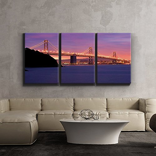 wall26 3 Piece Canvas Print -San Francisco Bay Bridge with Stunning Evening Sunset - Giclee Artwork - Gallery Wrapped Wood Stretcher Bars 16