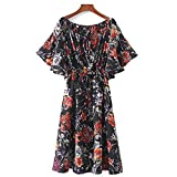 Lin Ya Tou Women Sexy Slash Neck Floral Off Shoulder Elastic Drawstring Tie Dress