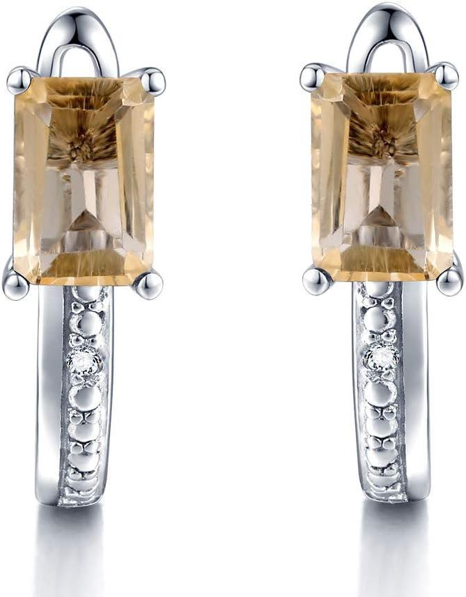 Pendientes de Clip de Diamante Genuino Mujer 1.2ct Amarillo Citrino Pendiente Natural Plata 925 Piedras Preciosas Joyería Nupcial Regalo de Mujer