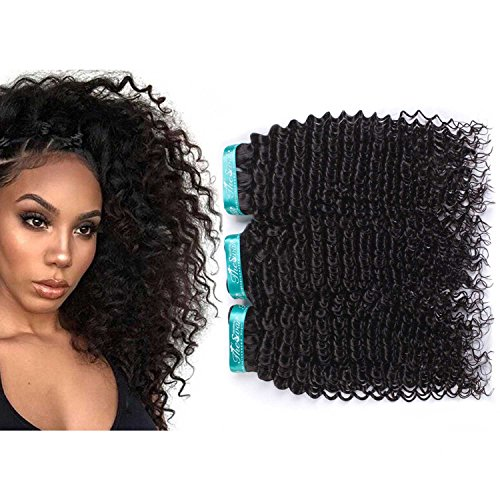 Swan Kinky Curly Grade 7A Brazilian Hair Mixed Length 3 Bundles Weave 100% Virgin Hair Unprocessed Hair Extensions (Natural Color)(10