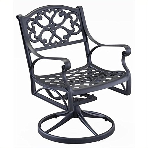 Home Styles 5554-53 Biscayne Swivel Outdoor Arm Chair, Black Finish (Cast Aluminum Swivel Rocking Chair)