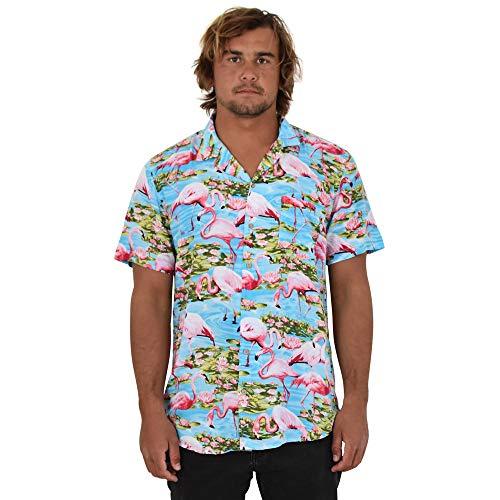 ISLAND STYLE CLOTHING Mens Hawaiian Shirts Flamingo Floral Tropical Party Prints (Medium, Turquoise Flamingo)