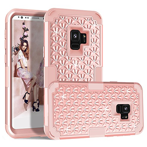 (Galaxy S9 Case, MCUK 3 In 1 Sparkly Glitter Bling Rhinestone Heavy Duty Shockproof Hybrid Hard PC Soft Silicone Rubber Protective Case for Samsung Galaxy S9 5.8 Inch 2018 Release (Rose Gold))