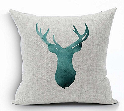 Painting in water colours Deer head Throw Pillow Case Cushion Cover Decorative Cotton Blend Linen Pillowcase for Sofa 18