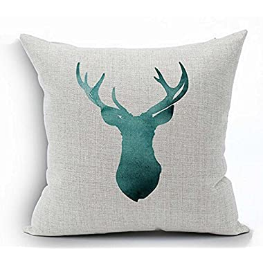 Painting in water colours Deer head Throw Pillow Case Cushion Cover Decorative Cotton Blend Linen Pillowcase for Sofa 18  X 18   ( Deer head Figure) ¡