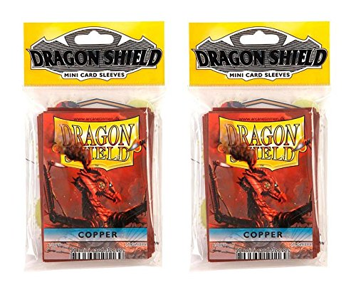 Copper Color Dragon Shield Bundle 2 Packs of 50 Count Japanese Size Mini Card Sleeves