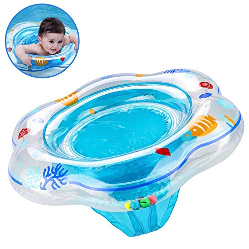 Baby Float Swimming Ring with Safety Seat, Pool Swim Float with Double Airbag Baby Kids Pool Bathtub Outdoor Swimming Pool Toys Accessories for Kids Toddlers of 6-24 Months (Blue)