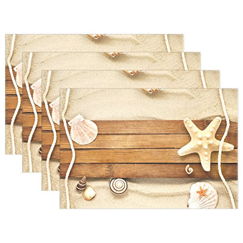 Naanle Sea Ocean Placemats Set of 4, Starfish Seashell on Sandy Beach Vintage Style Heat-resistant Washable Table Place Mats for Kitchen Dining Table Decoration