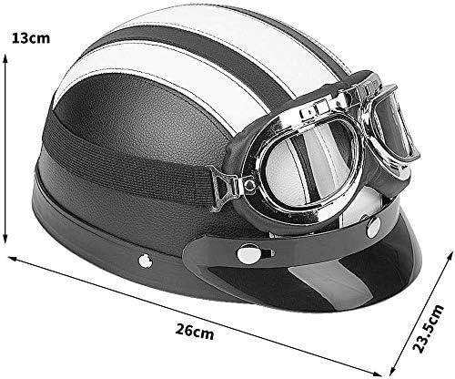 Noir Universel Casque de Moto avec Lunettes UV Visor en Cuir Ejoyous Casque de Moto Demi-Casque Ouvert pour Moto