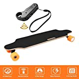shaofu Electric Skateboard Youth Electric Longboard with Wireless Remote Control, 250W Motor, 20 MPH Top Speed, 10 Miles Range (US Stock) (Orange)