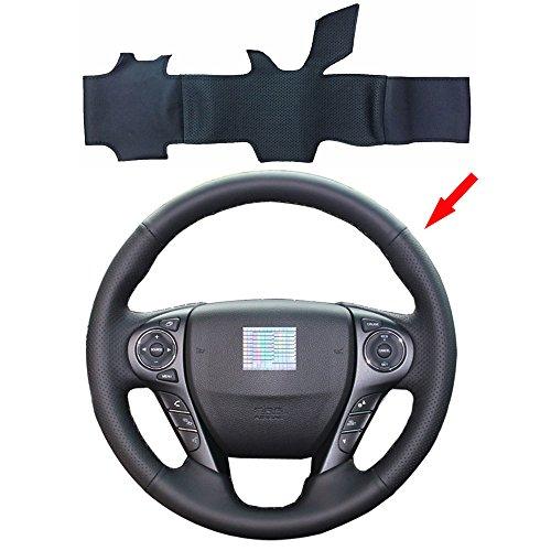 Eiseng DIY Black Genuine Leather Steering Wheel Cover Custom for 9th Honda Accord Sedan 2013 2014 2015 2016 2017 Stitch on Wrap Needles Interior Accessories 15 inches (Black thread) ()