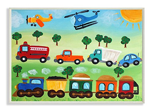 The Kids Room by Stupell Planes, Trains, and Automobiles Rectangle Wall Plaque by The Kids Room by Stupell