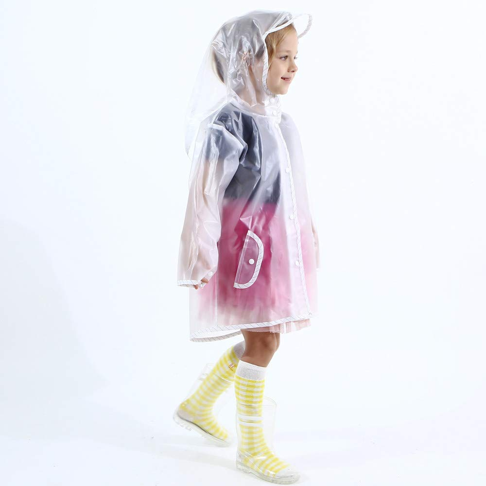 Kids Boy Girl Raincoat Rain Jacket Transparent Lightweight Rainwear Rain Slicker