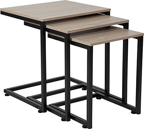 Contemporary Unique Design Sonoma Oak Wood Grain Finish Nesting Tables with Black Frame by Belncik