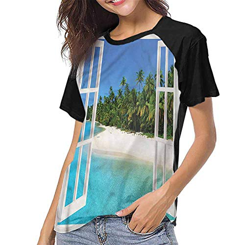 Female Baseball Short Sleeve,Turquoise,Paradise Island Tree View S-XXL T-Shirt Casual Blouse