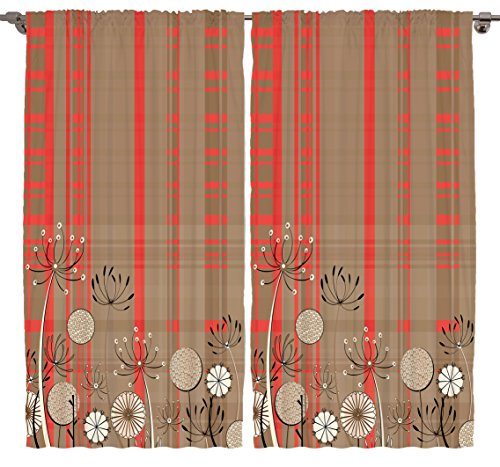 Floral Curtains Digital Print Bedroom Living Dining Room Curtain Panels One of a Kind 2 Panel Set – Silky Satin Window Treatment (Orange-Beige, 108Wx84L)