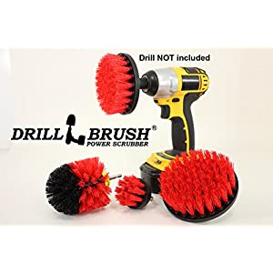 Stiff Bristle Nylon Cordless Drill Powered Spinning Brush Heavy Duty Scrubbing 4 Brush Kit