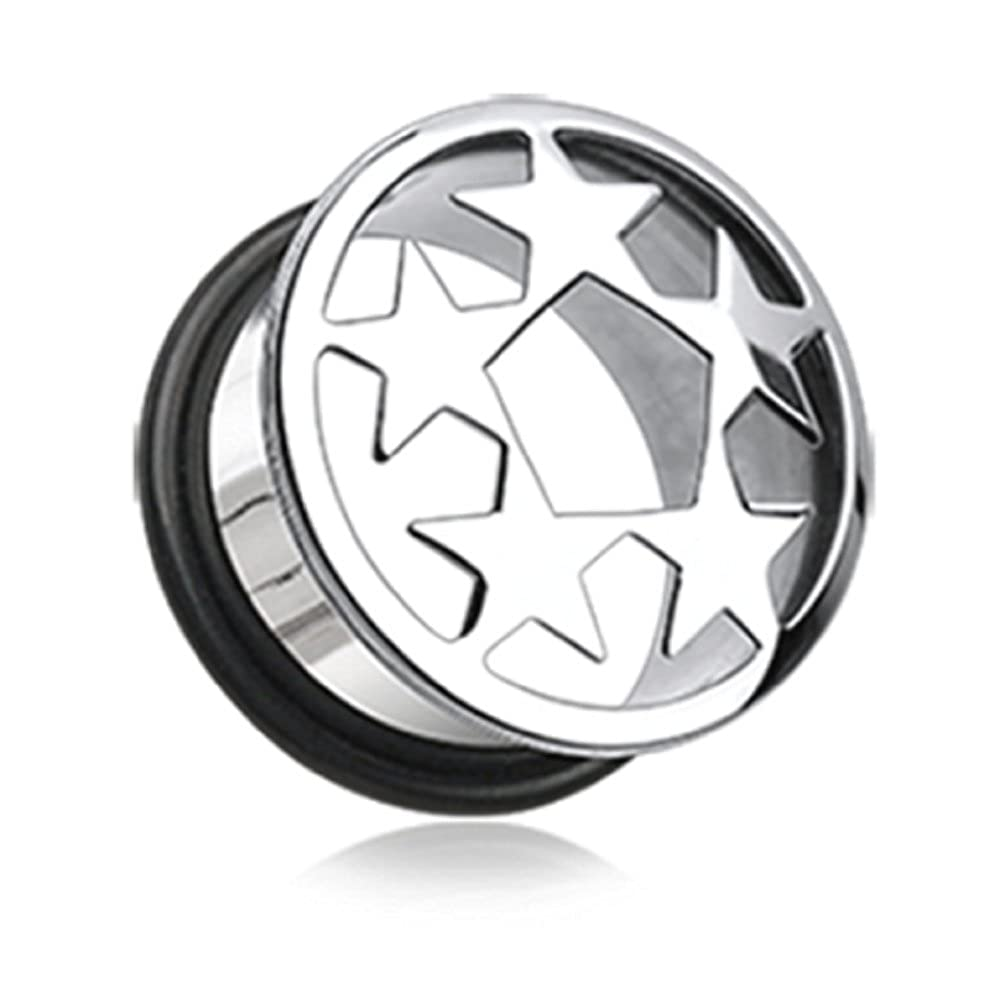 Euro Star Convex Single Flared Ear Gauge Freedom Fashion Hollow Plug Sold by Pair