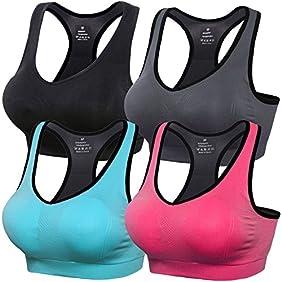 Daisity Women's Seamless Sports Bra - High Impact Removable Pads Racerback Bras