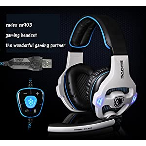 [New Updated PC Gaming Headphones]SADES SA903 USB 7.1 Stereo Surround Computer Gaming Headset with Microphone,Volume Control(White and Blue)