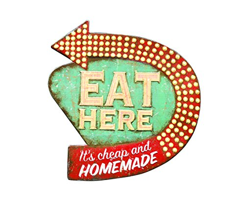 Creative Co-op Tin Eat Here Retro Wall Decor