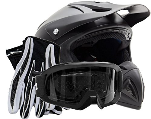 Adult Offroad Helmet Goggles Gloves Gear Combo DOT Motocross ATV Dirt Bike MX Flat Matte Black ( XXL )