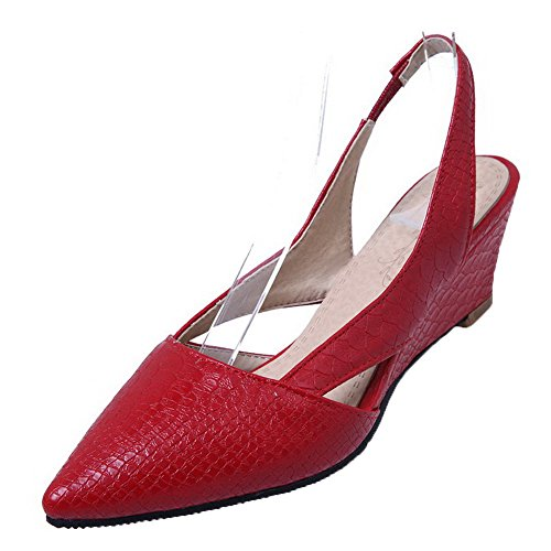 VogueZone009 Women's PU Low-Heels Pointed-Toe Checkered Pull-on Pumps-Shoes Red