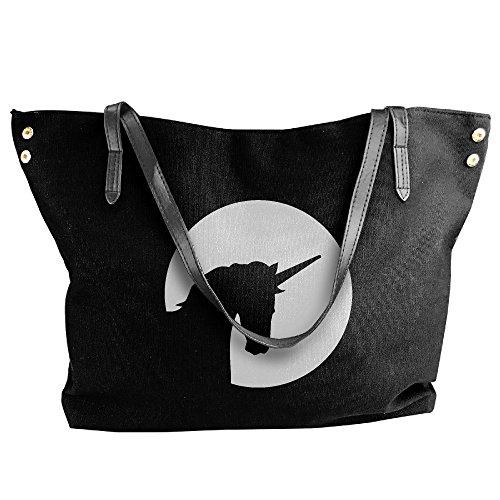 Black Tote Unicorn Shoulder Canvas Women's Head Large Hobo Bag Handbag EwqPxnzgT