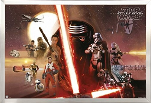 Framed Star Wars The Force Awakens Movie Poster Horizontal in Brushed Nickel Finish Wood