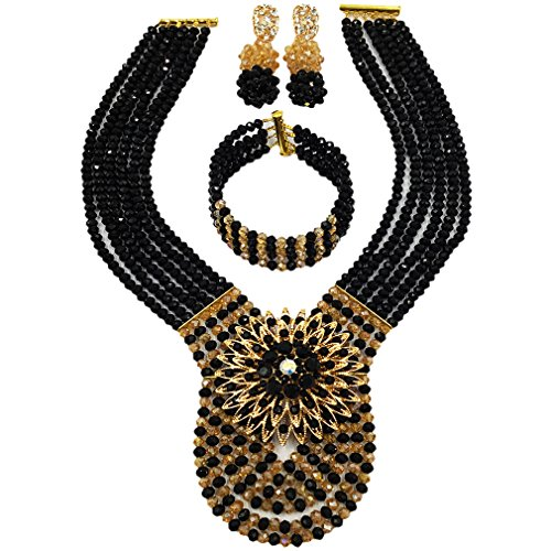 laanc Womens Wedding 6 Rows Champagne Gold AB and Multicolor Crystal Beads African Jewelry Sets (Black and Champagne Gold AB)