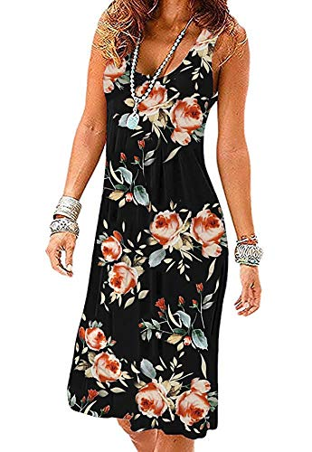 Akihoo Beach Dresses for Women Tshirt Sundresses Boho Casual Sleeveless Floral Shift Swing Loose YH3-Flower Black Rose S