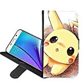 Samsung Galaxy S7 Case, Pikachu Pokemon PU Leather Folio Flip Wallet Case Cover with ID Credit Card Holder and Stand for Samsung Galaxy S7 + Thewart_Eight® Stylus Pen (#009)