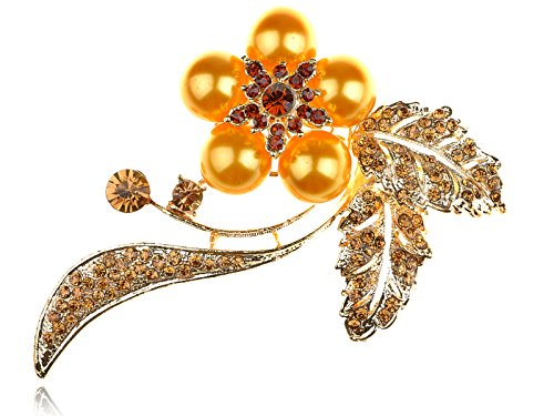 - Alilang Smoked Topaz Crystal Rhinestone Orange Faux Pearl Flower Bouquet Pin Brooch