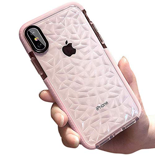 DHCHO iPhone Xs Max Case,Crystal Clear Slim Diamond Pattern Soft TPU Anti-Scratch Shockproof Protective Cover for Women Girls Compatible with iPhone Xs Max 6.5 Inch(Pink)